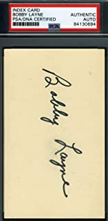 BOBBY LAYNE PSA DNA Autograph 3X5 Index Card Signed