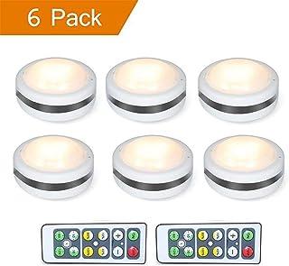 SLACTech Luz LED de Armario, Luz de Noche con Pilas Ajustable Sin Cable con Control Remoto Para Habitación, Pasillos, Escaleras, Sótano (6 unidades)