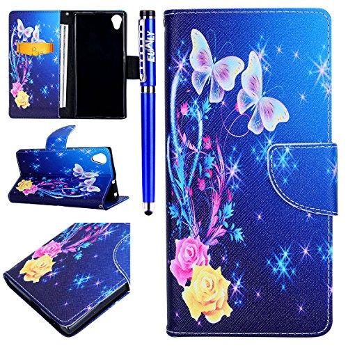 EUWLY Lederhülle für [Sony Xperia XA1 Plus], Retro Ledertasche Lederhülle Wallet Hülle Handytasche für Sony Xperia XA1 Plus, Kreativ Mode Malerei Schmetterling Blumen Eule Wallet Tasche Handytasche