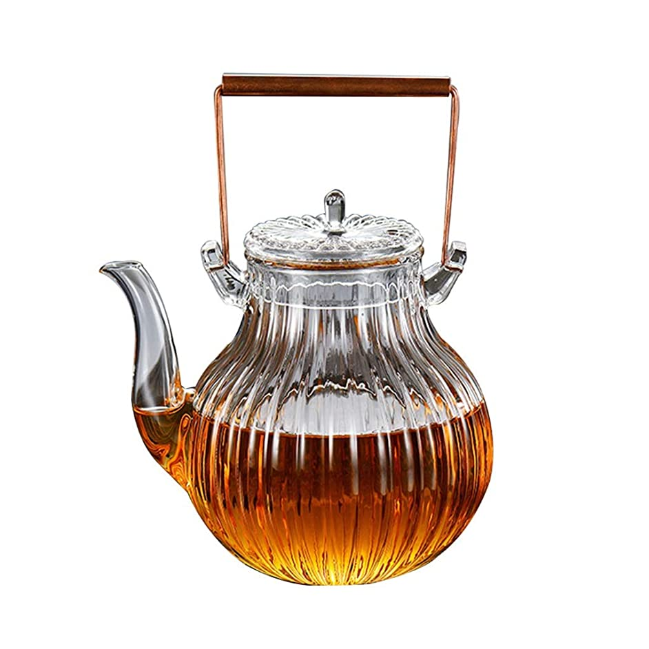 Teapots Coffee Servers Teapot Household Glass Anti-scalding Teapot High Temperature Resistant Gram Endurance Temperature Difference Glass Teapot (Color : Clear, Size : 750ml)