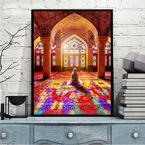 wZUN Carteles e Impresiones de mezquitas islámicas Arte Mural Lienzo Pintura Mural decoración Musulmana peregrino Mural para Sala de Estar 50x60cm