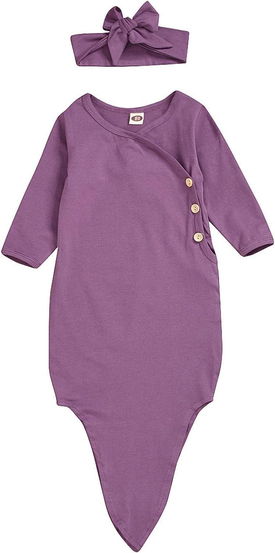 Moru Baby Boys Girls Cotton Sleeper Gown Organic Cotton Kimono Knotted Gown
