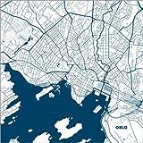 Poster 13 x 13 cm: Stadtplan von Oslo von 44spaces -