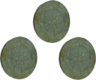 Things2Die4 Compass Rose Verdigris Finish 10 Inch Round Cement Step Stone Set of 3
