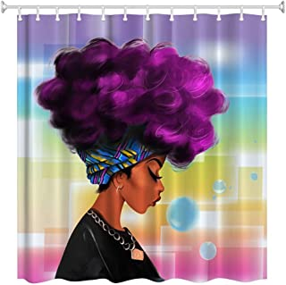 ZBLX Women Black Shower Curtain African Women with Purple Hair Hairstyle- Waterproof Resistant Fabric Polyester 100% Shower Curtain.72 x 72inch…