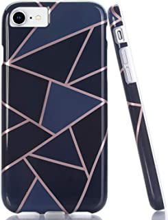 BAISRKE Shiny Rose Gold Wave Geometric Marble Case Slim Soft TPU Rubber Bumper Silicone Protective Phone Case Cover Compatible with iPhone 8 / iPhone 7 / iPhone 6 6s 4.7 inch (Blue)