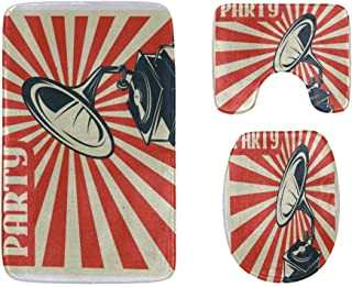 Hand-Drawn Gramophone with Music Bathroom Rug Mats Set 3-Piece,Soft Shower Bath Rugs,Contour Mat and Toilet Seat Lid Cover...