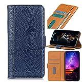 GARITANE Funda para Samsung Galaxy Note 10 Plus/Note 10+,Carcasa Cuero Patrón de Litchi Elegante con Crédito Ranuras para Tarjetas Cierre Magnético Soporte (Azul)