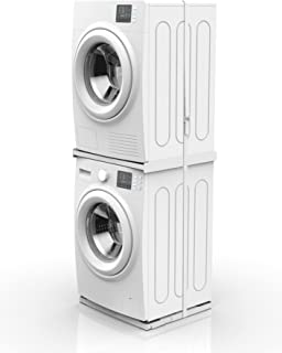 Meliconi The Tower 2-in-1 Washing Machine and Tumble Dryer Tower Set Includes 2 Products: 1 x Tower Style L60 and 1 x Wash Pro Base, Made in Italy, White