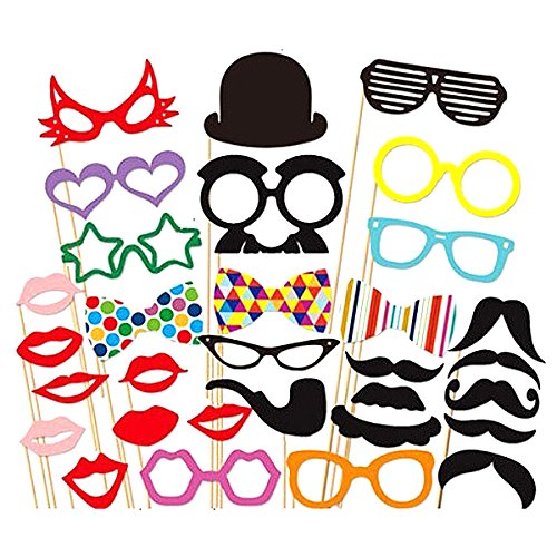 WINOMO 31pcs DIY Funny Glasses Moustache Red Lips Hat Bow Ties On...