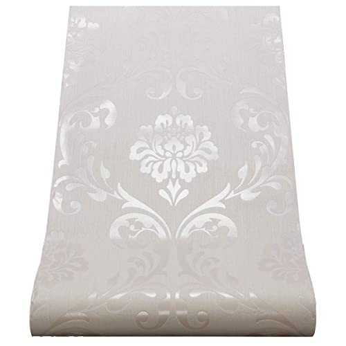 White Damask Wallpaper Amazon Co Uk