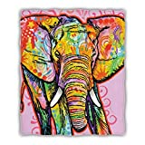 Hooome Thick Elephant Print Blanket, Super Soft Full Size 50' x 60',Luxury Plush Fleece Blanket for Sofa Bed Office Gifts…About 14 Days delivery