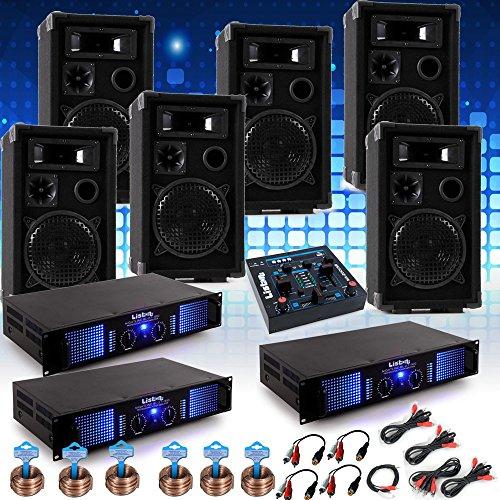 etc-shop PA System Fastnacht Karnevalswagen Musikanlage 6X Boxen 3X Verstärker USB Mixer DJ-Karneval