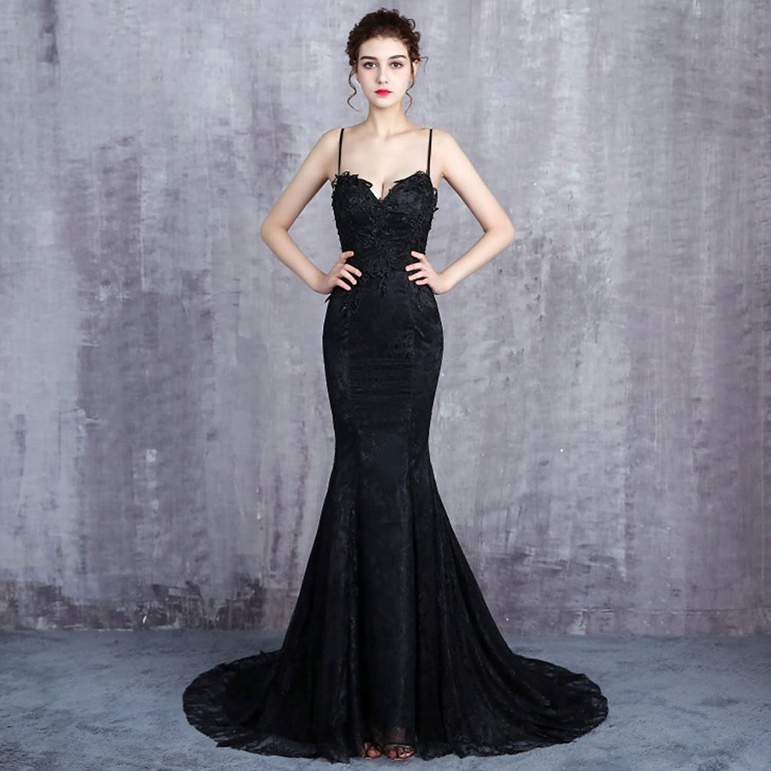 Women's Simple Black Wedding Dresses Spaghetti Straps VNeck Hollow Backless Short Tailing Ball Gown Evening Prom Dresses with Lace Appliques Beading