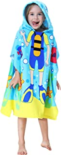 Kids Hooded one Piece Beach Pool Bath Towel as Diver for Boys and Girls Blue