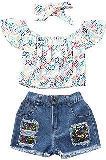 3 Piezas Ropa Niña 2-6 años Conjuntos Verano Tie-Dye - Pantalones Vaqueros + Pull-Over Camisa + Venda de Pelo, Trajes Conj...