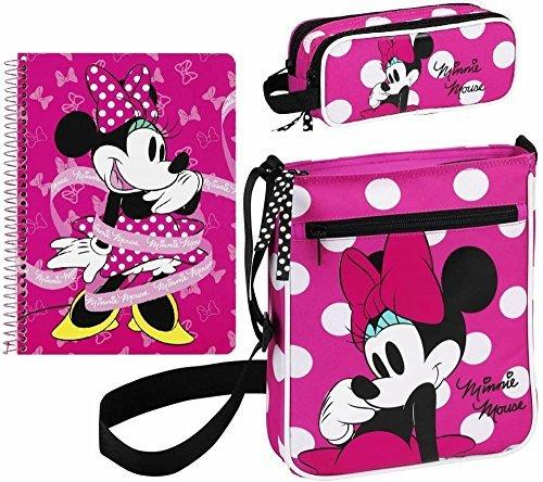 Disney Minnie Mouse - Schultertasche, Federmäppchen und Block, rosa