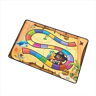 RelaxBear Kids Activity Universal Door mat Treasure Hunt in The Adventure of The Pirate Cove Cartoon Drawing Style Door mat Floor Decoration W23.6 x L35.4 Inch Multicolor