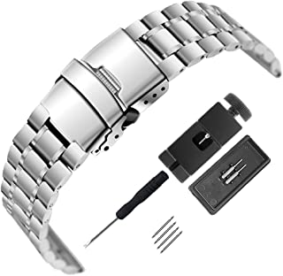 Mirror Surface Stainless Steel Watch Band 18mm 20mm 22mm 24mm Strap Metal Replacement Bracelet with Double-Button Safety Clasp for Men's Women's Watch Black Silver (Black, 22mm)