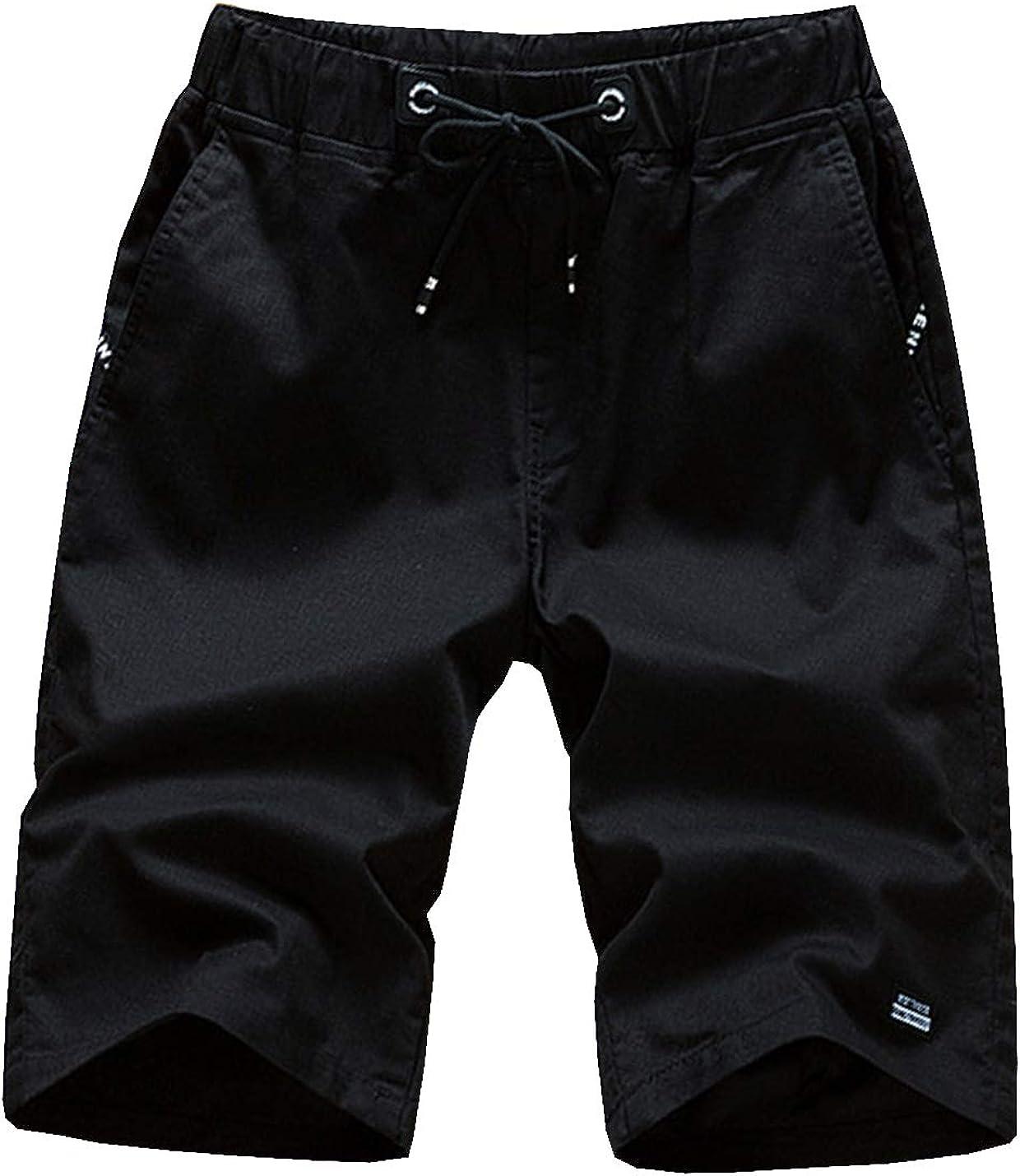 D.B.M Men's Casual Micro-Pleated Elastic Waist Drawstring Tie Cotton Shorts