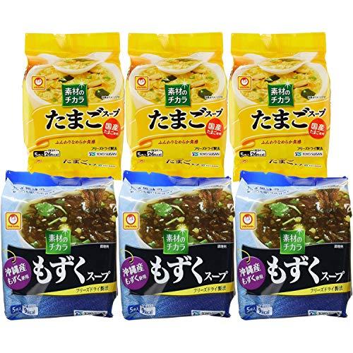 【セット商品】マルちゃん 素材の力 たまご&沖縄もずく 2種アソート(たまごスープ 3個 沖縄もずくスープ3個)