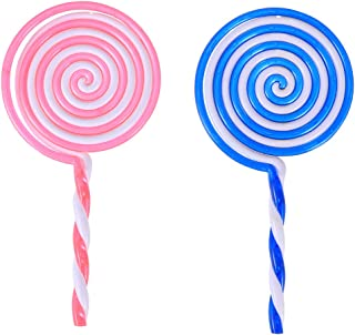 LUOEM 2Pcs Lollipop Prop Cosplay Clown Dress Up Lollipop Candy Embellishment DIY Rainbow Color Lolly Crafts (Random Color)