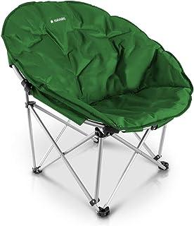 Navaris Silla Redonda Plegable - Asiento para Camping con Bolsa - Silla portátil para Acampada - Silla para el Aire Libre Pesca Playa - 150 KG