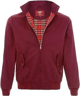 merc Harrington Jacket Mens Classic Vintage Retro Coat Tartan Lining (X-Large, Wine)