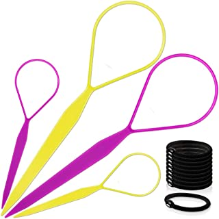 Topsy Hair Tail Tools, TsMADDTs Hair Braid Accessories Ponytail Maker 4 pcs Topsy Tail Kit French Braid Tool Loop for Hair Styling 10pcs Ponytail Holders