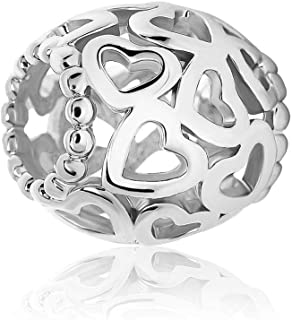 Q&Locket Heart Infinity Charms Spacer Charm Beads for Bracelets