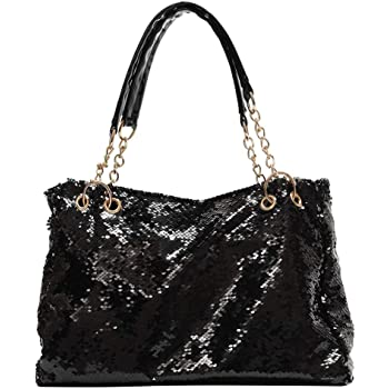 Glitter Sequin Shoulder Tote Bag for Women Fashion Large Capacity Shiny Reversible Mermaid Sequin Shopping Bag Pouch Black