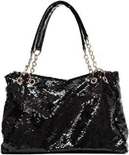 Fashion Two Tone Reversible Sequin Tote Bag Zipper Shoulder Bag with Chain and Leather Straps (Black)