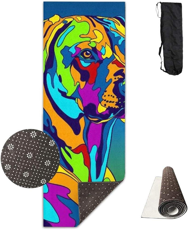 Non Slip Yoga Mat,Multicolor Rhodesian Ridgeback Dog 3D Print 71X24 Inch Velvet with Carrying Strap