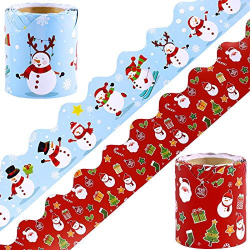 Elcoho Pack of 2 Christmas Bulletin Board Border Classroom Decorative Border Trim in 2 Designs for Bulletin Board/Chalkboard/Whiteboard Trim, 65.6 feet in Total