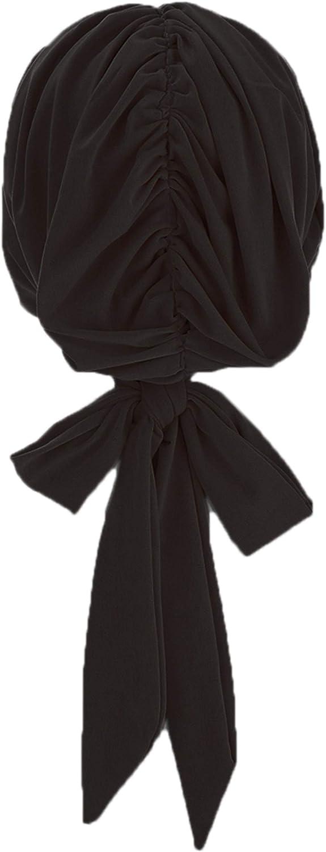 Antjoint Turban Headwear Chemo Cancer Sleep Cap Hat Beanie Self-Tied Bowknot Long Tail Headwrap Hair Cover
