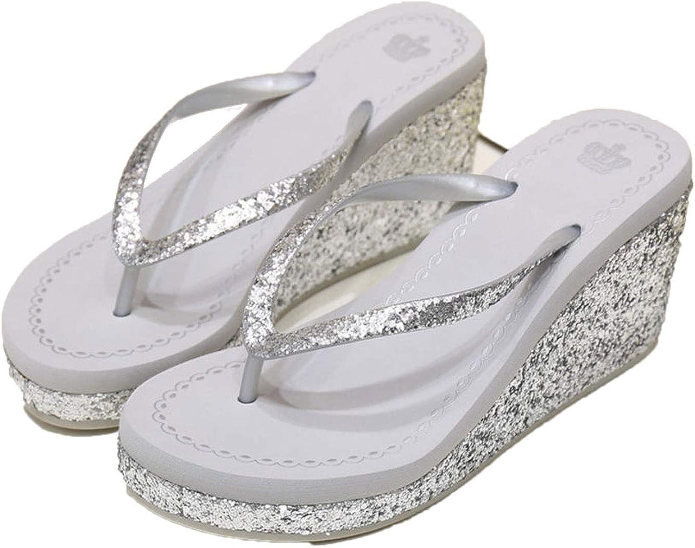 ZHOUZJ Summer Bright Diamond Women's Slippers Slope with Non-Slip High Heel Lip-Flops shoes
