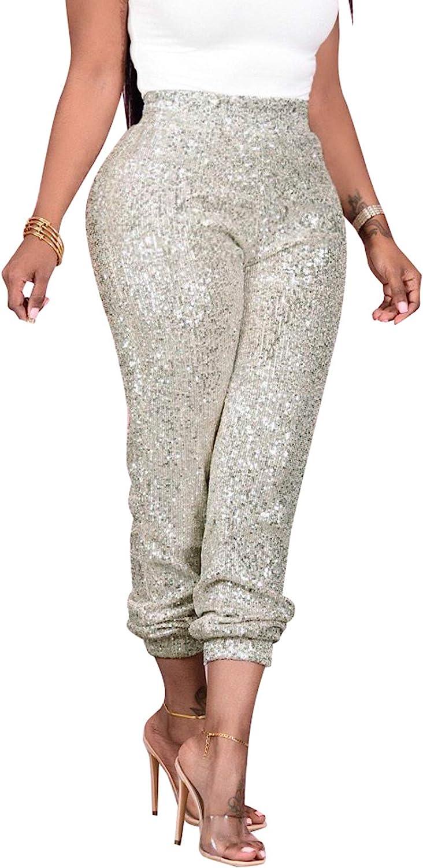 nqgsntc Women Casual Sequin Sparkle Glitter High Waist Pencil Pants Trousers Clubwear