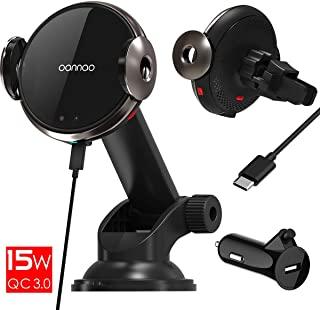 15W Fast Wireless Car Charger Mount - Qi Wireless Charging Car Mount with Infrared Auto-Clamping.Windshield/Air Vent Phone Holder.Quick Charging for iPhone 11/Pro/MAX/XS/XR/X/8/Plus Samsung S10/S10+