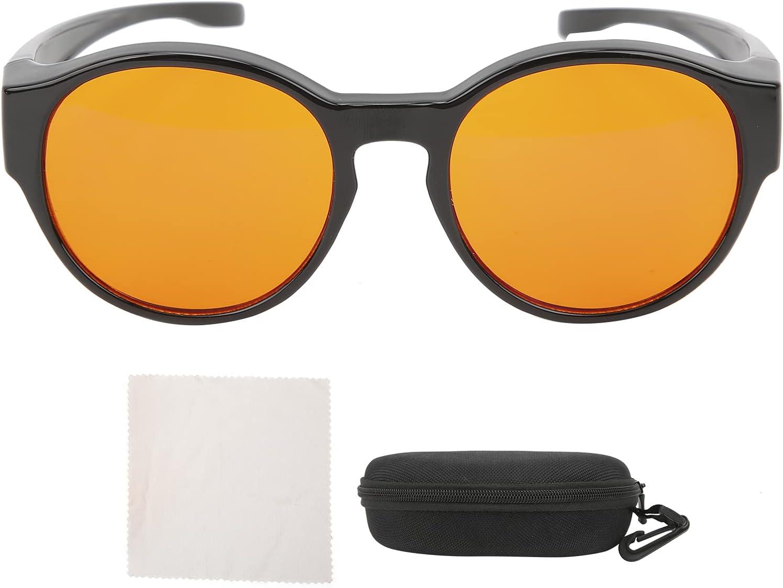 Gafas láser, gafas de ordenador anti rayos azules que se ajustan a los anteojos recetados Lentes de color ámbar naranja Marco redondo
