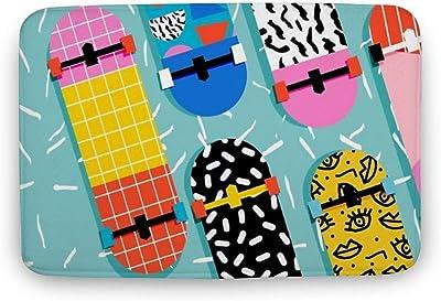 """Soft Indoor Doormat, Omigod - 80s Retro Memphis Skateboards Pattern Sports Trendy 1980'S Door Mats Rug for Bathroom Kitchen Bedroom Entryway Floor Mats,Funny Bath Mat,16""""X24"""""""