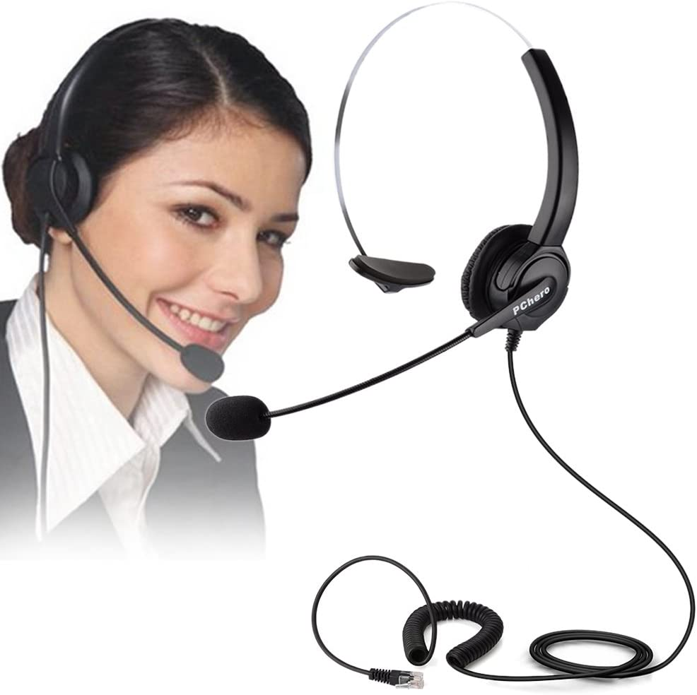 Telephone Headset, PChero RJ9 Noise Cancelling Headset with Mic for Call Center Desk Telephone, Ideal for Phone Sales, Insurance, Hospitals, Telecom Operators - Monaural
