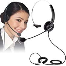 Telephone Headset, PChero RJ9 Noise Cancelling Headset with Mic for Call Center, Desk Telephone, Perfect for Phone Sales, Insurance, Hospitals, Telecom Operators - [Monaural]