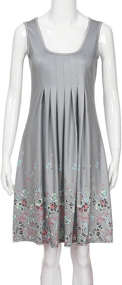 ORT Summer Dresses for Women Sexy Plus Size, Womens Floral Bohemian Mini Dress Sleeveless Boho Beach Casual Swing Dress