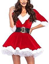 Dames Mrs. Claus Kerstman Kostuum Hoodie Kerstjurk Sexy Cosplay Jurk met Riem voor Kerstmis