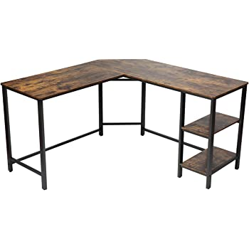 CHADIOR Industrial L Shaped Desk, Corner Work Surface, Wooden Writting Workstation, Gaming Computer Table with Shelves, for Small Space, Home Office, Bedroom, Rustic Brown