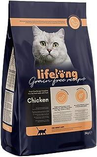 Marca Amazon Lifelong Alimento seco para gatos adultos con pllo fresco, receta sin cereales - 3kg