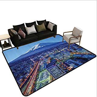 Skid-Resistant Rug Wanderlust Decor Collection Skyline of Mt. Fuji and Yokohama Japan Financial District Mountain Volcano Picture Print Ideal Gift for Children5'6 x6'6 Navy
