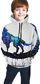 Cyloten Kid's Sweatshirt Wold Moon Galaxy Hoodie Teen's Thicken Sportswear Fleece Hood for Fall-Winter
