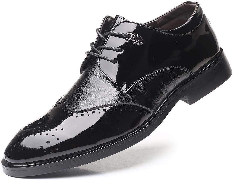 Uniform Dress Shoes Uniform Dress Shoes Mens Patent Leather Oxfords Shoes  Brogue Carving Shoes Lace up Business Wedding Wingtip Low Heel Pointed Toe  Shoes Breathable Anti-Skid Color : Black, Size : 6.5