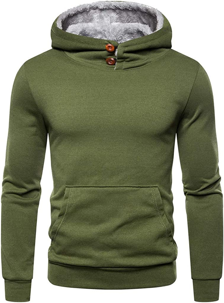 HONGJ Hoodies for Mens, 2021 Fall Fashion Button Cowl Neck Fleece Pullover Long Sleeve Workout Sports Hooded Sweatshirts